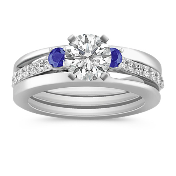 Round Sapphire and Diamond Wedding Set
