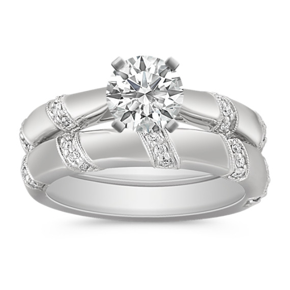 Cathedral Round Diamond Wedding Set with Pavé Setting