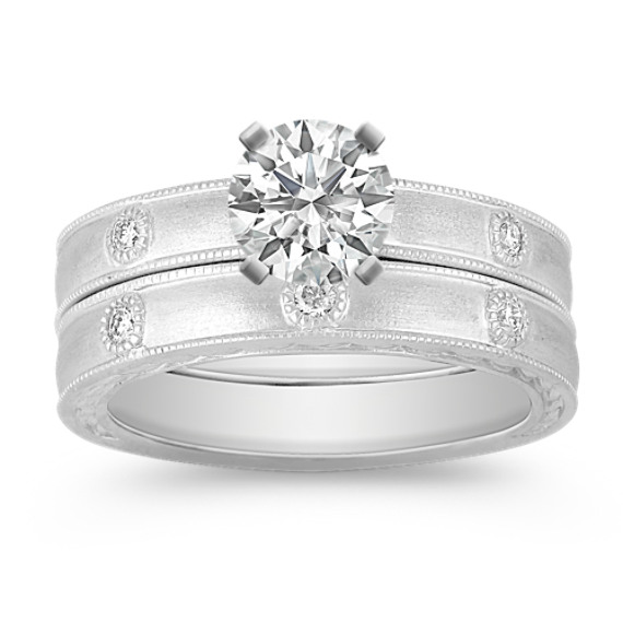 Bezel Set Diamond Wedding Set with Satin Finish
