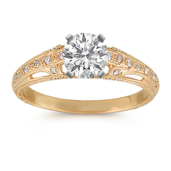 Vintage Diamond Engagement Ring with Pavé Setting