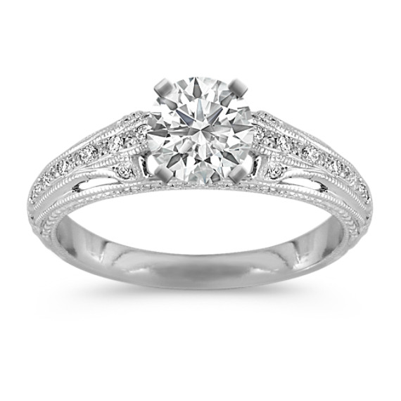 Vintage Diamond Platinum Engagement Ring with Pavé-Setting
