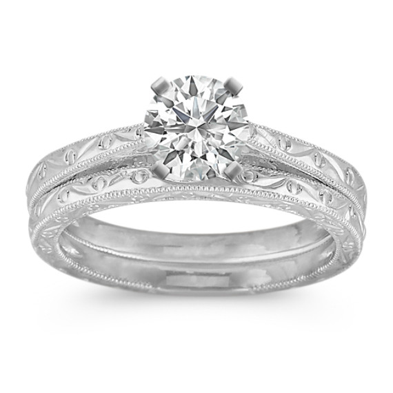 Solitaire Vintage Platinum Wedding Set
