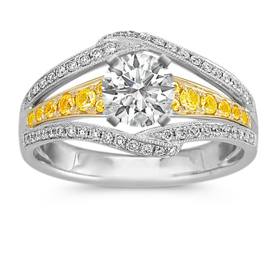 Vintage Round Yellow Sapphire and Diamond Engagement Ring in Two-Tone Gold