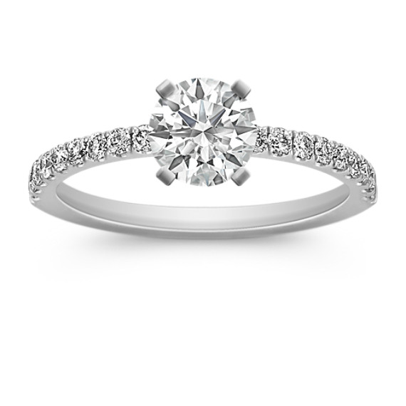 Pavé-Set Diamond Engagement Ring in Platinum