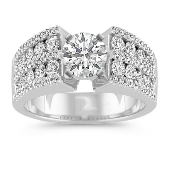 Round Diamond Engagement Ring with Pavé and Channel-Setting