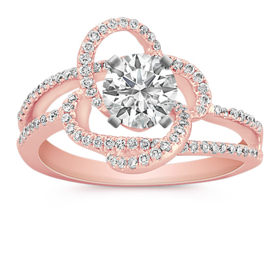 Round Diamond Floral Ring with Pavé Setting in Rose Gold