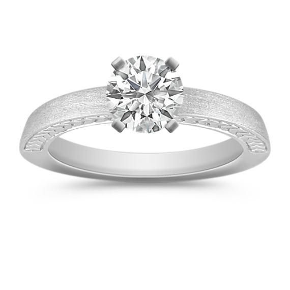 Solitaire 14k White Gold Satin Engagement Ring