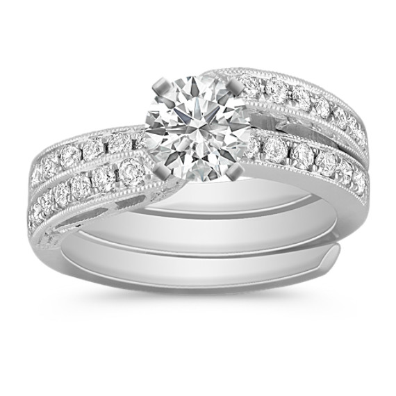 Vintage Swirl Diamond Wedding Set with Pavé Setting