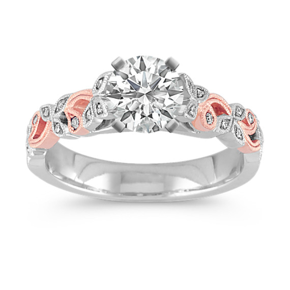 Vintage Cathedral Engagement Ring in White and Rose Gold