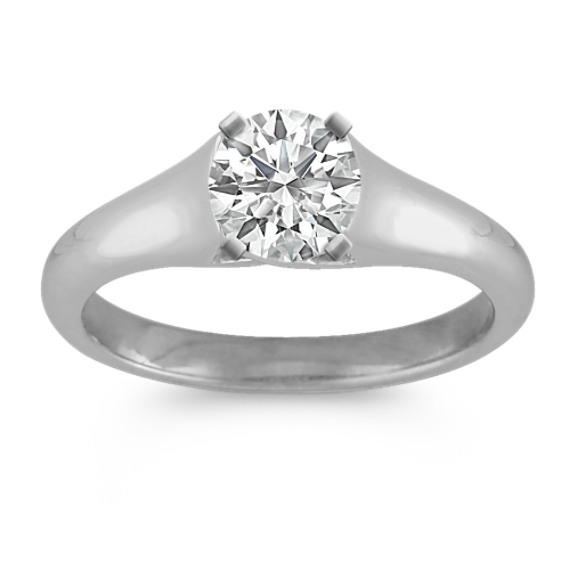 Solitaire Cathedral Engagement Ring in 14k White Gold