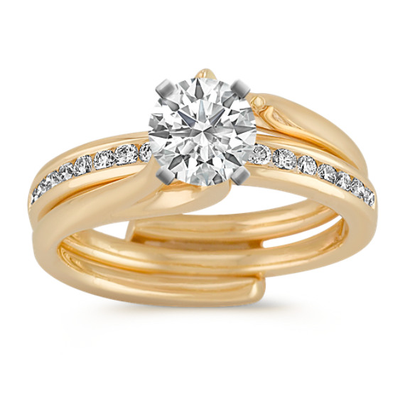 Round Diamond Classic Wedding Set with Channel-Setting