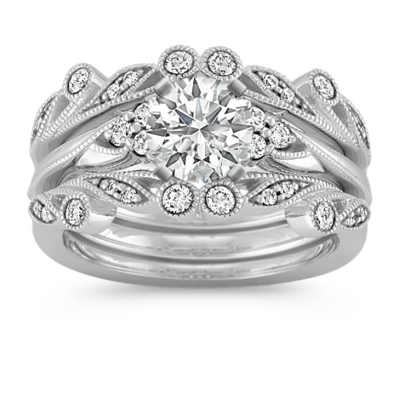Vintage Diamond Triple Band Wedding Set with Pavé-Setting