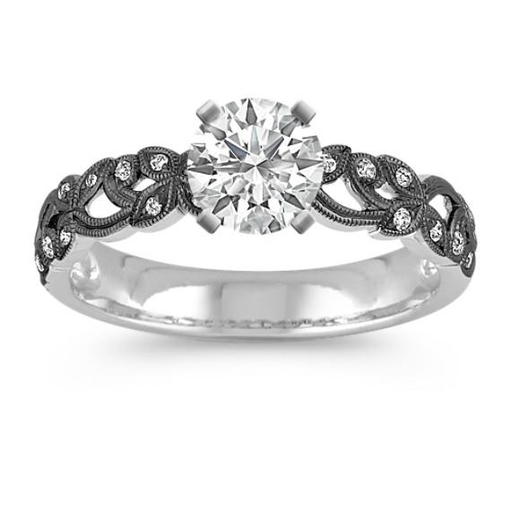 Vintage Diamond Engagement Ring with Black Rhodium