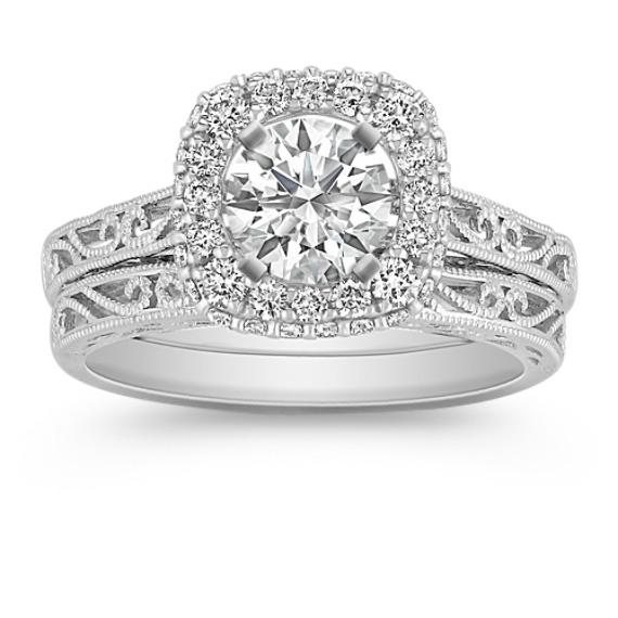 Halo Vintage Diamond Wedding Set with Pavé-Setting and Filigree