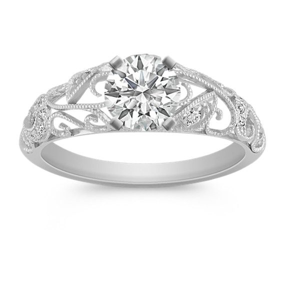 Engraved Vintage Diamond Engagement Ring with Milgrain and Pavé Setting