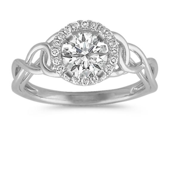 Halo Round Diamond Ring with Pavé Setting