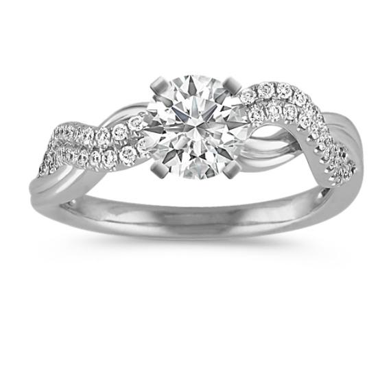 Round Diamond Twist Ring with Pavé Setting