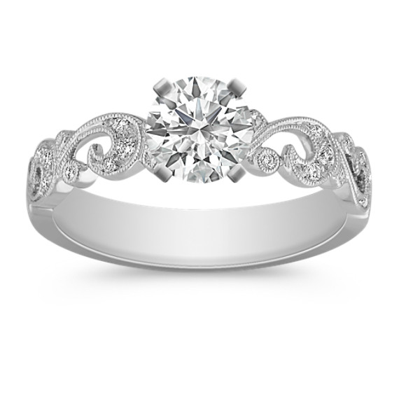 Platinum Vintage Swirl Engagement Ring with Pavé Setting