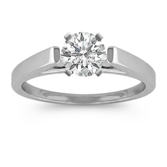 Cathedral Solitaire White Gold Engagement Ring with Polish Finish