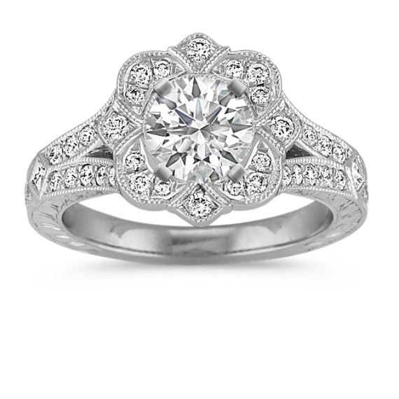 Vintage Princess Cut and Round Diamond Engagement Ring