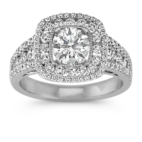 Double Halo Multi-Size Round Diamond Engagement Ring