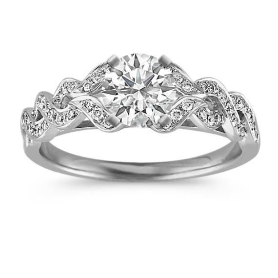 Twist Diamond Ring with Pavé Setting
