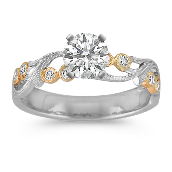 Vintage Pavé Diamond Engagement Ring in Two-Tone Gold