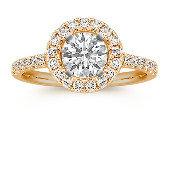 Round Diamond Halo Engagement Ring in 14k Yellow Gold