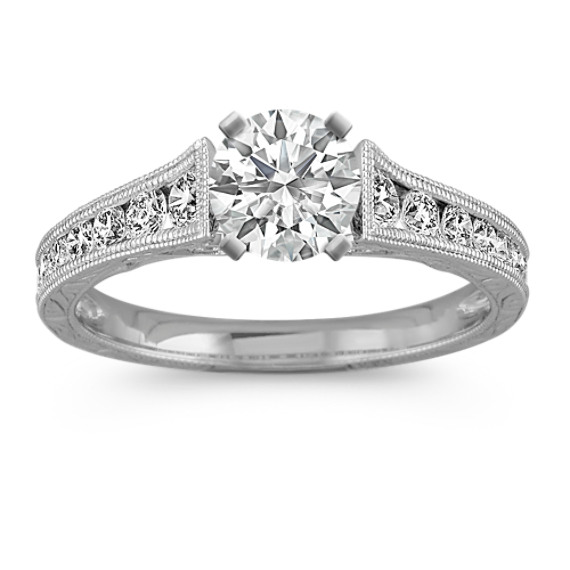Engraved Vintage Cathedral Diamond Engagement Ring with Pavé Setting