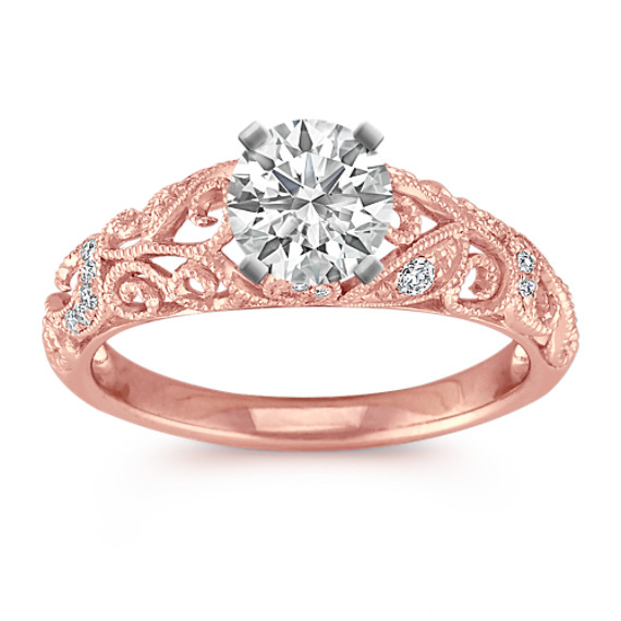 Vintage Diamond Engagement Ring with Pavé Setting in Rose Gold