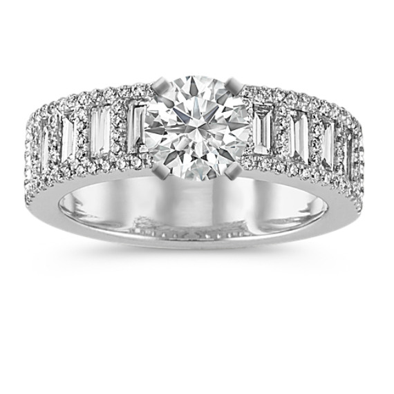 Pavé-Set Round and Baguette Diamond Engagement Ring