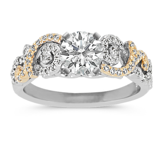 14k Two-Tone Gold Round Diamond Swirl Engagement Ring