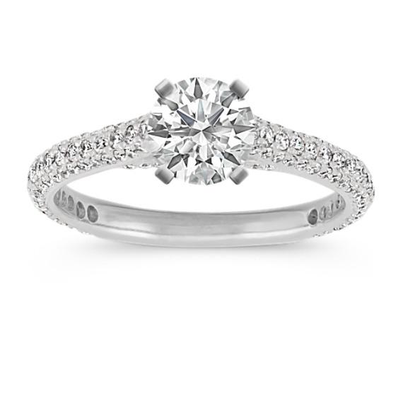 14k White Gold Pavé-Set Round Diamond Cathedral Engagement Ring