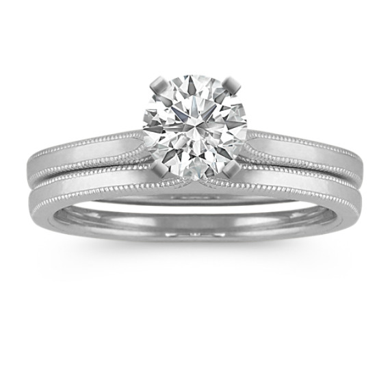 Cathedral Wedding Set with Milgrain Detailing in 14k White Gold