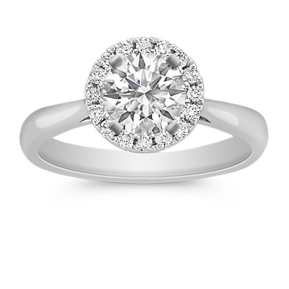 Halo Diamond Engagement Ring on Polished Band