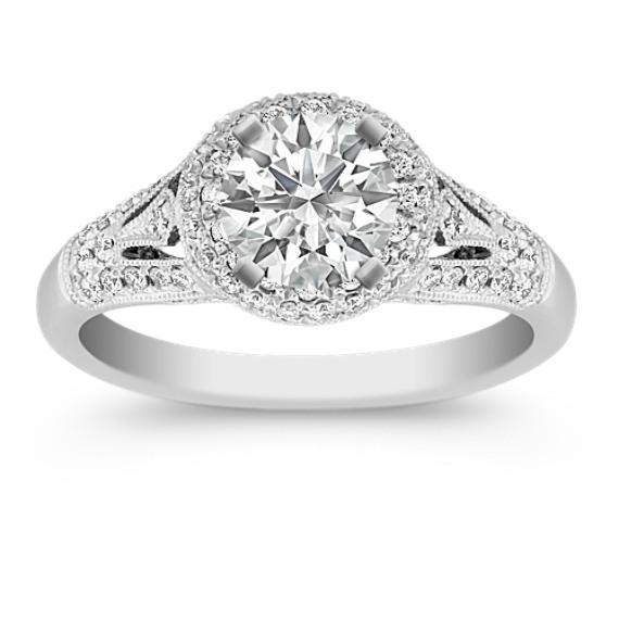 Halo Diamond Platinum Engagement Ring with Pavé-Setting