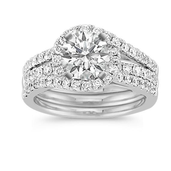 Halo and Swirl Diamond Wedding Set