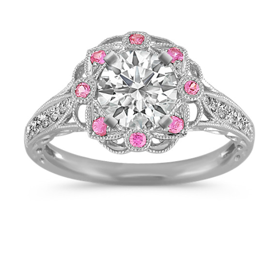 Vintage Pink Sapphire and Diamond Halo Engagement Ring