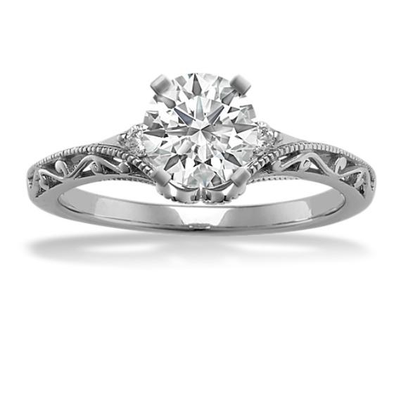 vintage diamond engagement ring in white gold - Vintage Diamond Wedding Rings
