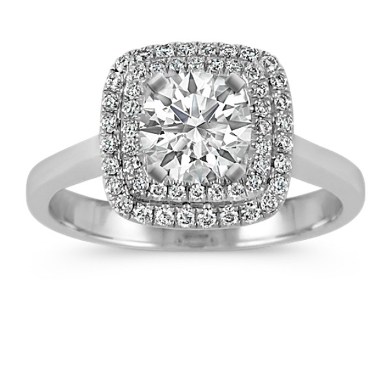 Cushion Double Halo Engagement Ring in 14k White Gold
