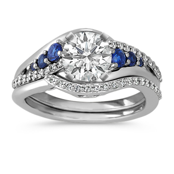 Round Sapphire And Diamond Wedding Set In 14k White Gold