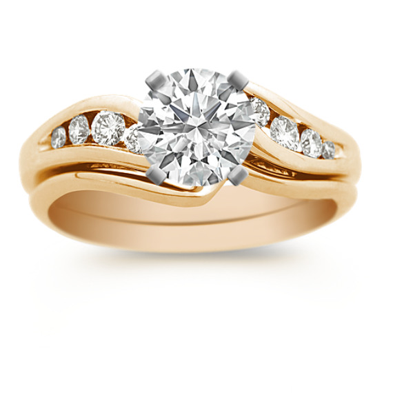 Swirl Diamond Wedding Set with Channel Setting in 14k Yellow Gold