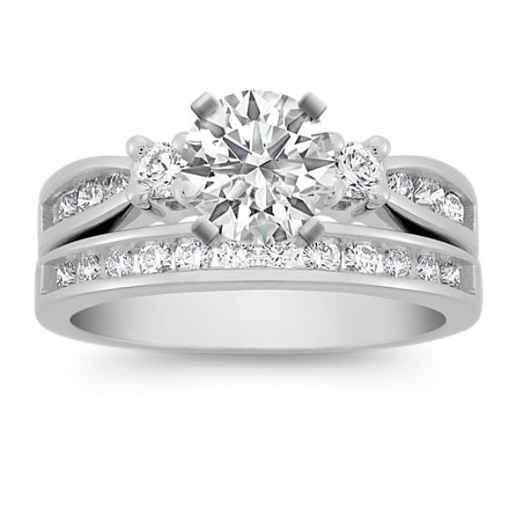 Three-Stone Diamond Wedding Set
