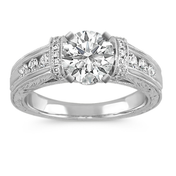 Vintage Cathedral Diamond Pavé and Channel-Set Engagement Ring