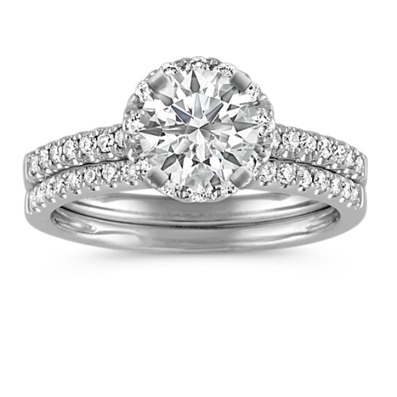 Round Halo Diamond Wedding Set with Pavé Setting