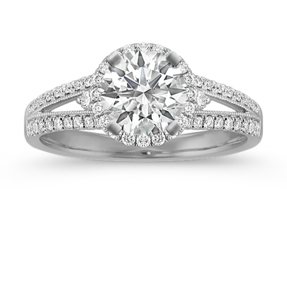 Round Halo Diamond Split Shank Engagement Ring