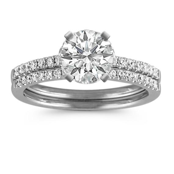 Halo Pavé-set Diamond Wedding Set