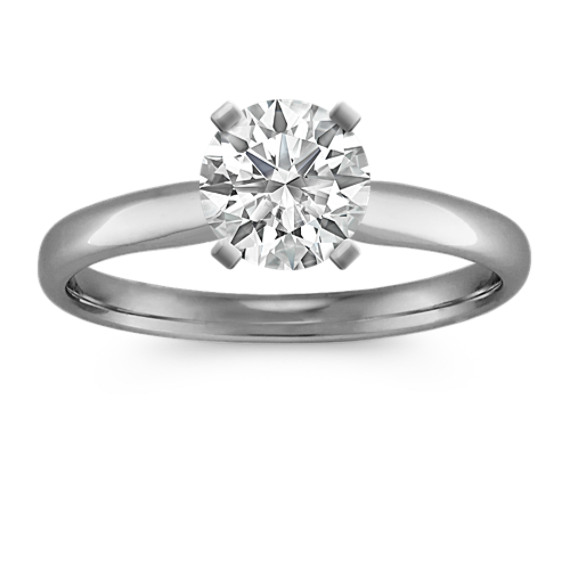 Chevron Head Solitaire 14k White Gold Engagement Ring