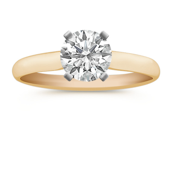 Chevron Head Solitaire 14k Yellow Gold Engagement Ring