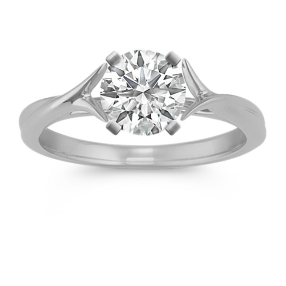 Crossover Swirl Solitaire 14k White Gold Cathedral Engagement Ring